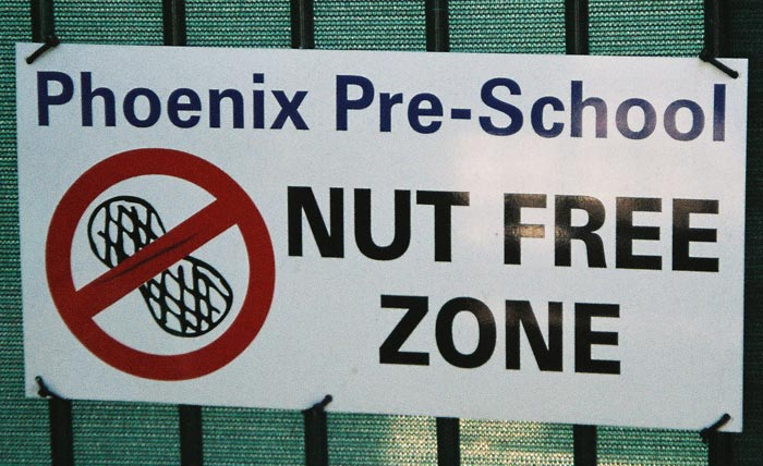 balmain sign nut free zone